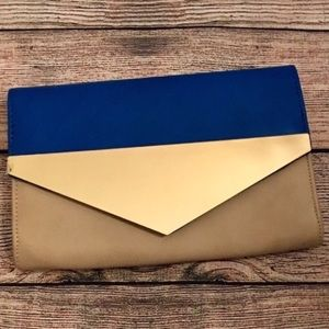 Urban Expressions tan and blue clutch
